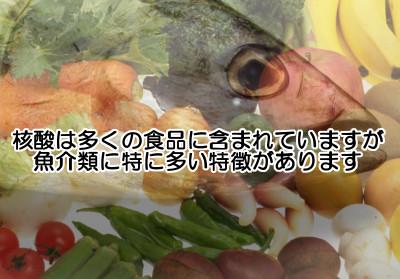 核酸は大半の食べ物に含まれているので満遍なく食べましょう。ただ動物性食品は魚をメインに。