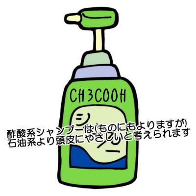 酢酸系シャンプーといわれるものもあり合成界面活性剤を使っている石油系よりはましかもしれない