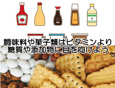 ビタミンb6を含む調味料と代表的なお菓子・飲み物類の一覧表