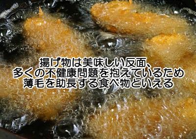 揚げ物は高温調理の代表で食べ物を最も劣化させる 栄養素の期待は全くできず不健康物質を多くとり込むので薄毛を招くジャンクフードともいえる