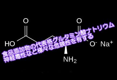 グルタミン酸ナトリウムは最も多く使われる食品添加物のひとつであることから危険性も高いと考えられる。